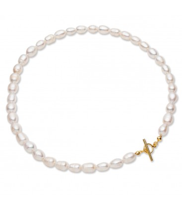 White freshwater pearls choker, sterling silver 925