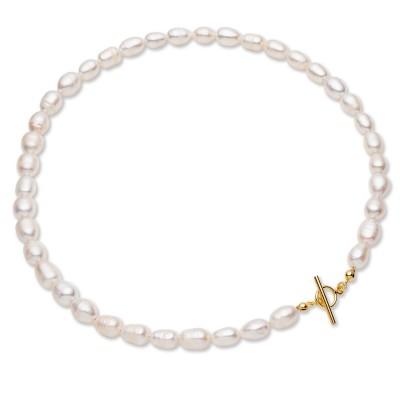 Perlas de agua dulce blancas flexibles, plata de ley 925