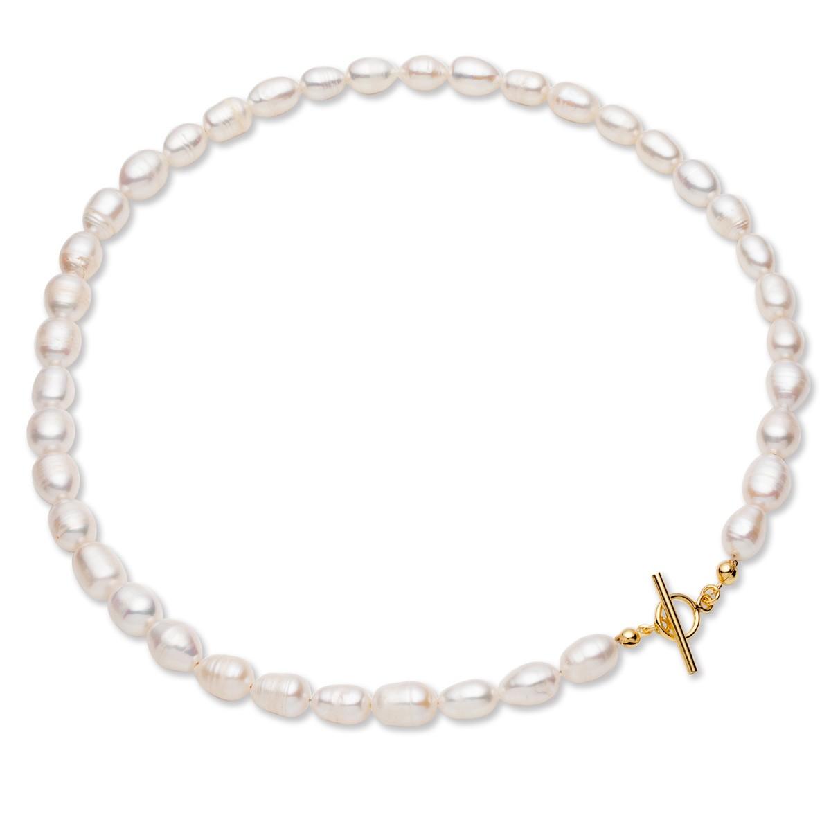 Choker z białych pereł słodkowodnych, srebro 925