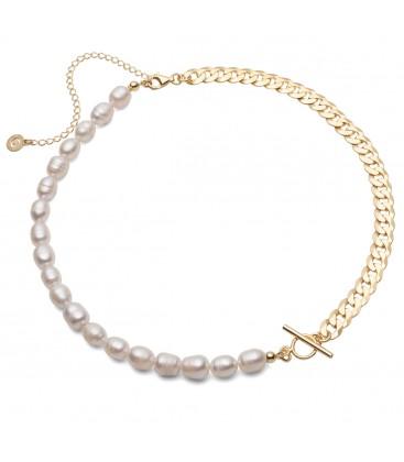 Collar de perlas blancas y cadena, plata 925