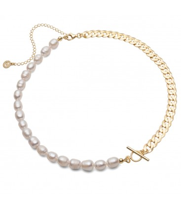 Halskette aus weißen Perlen und einer Kette, Sterlingsilber 925