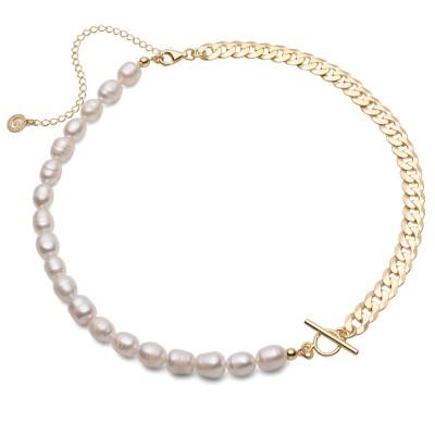 Choker z białych pereł słodkowodnych i łańcuszka, srebro 925