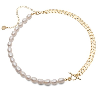 Flexible white freshwater pearls necklace, sterling silver 925