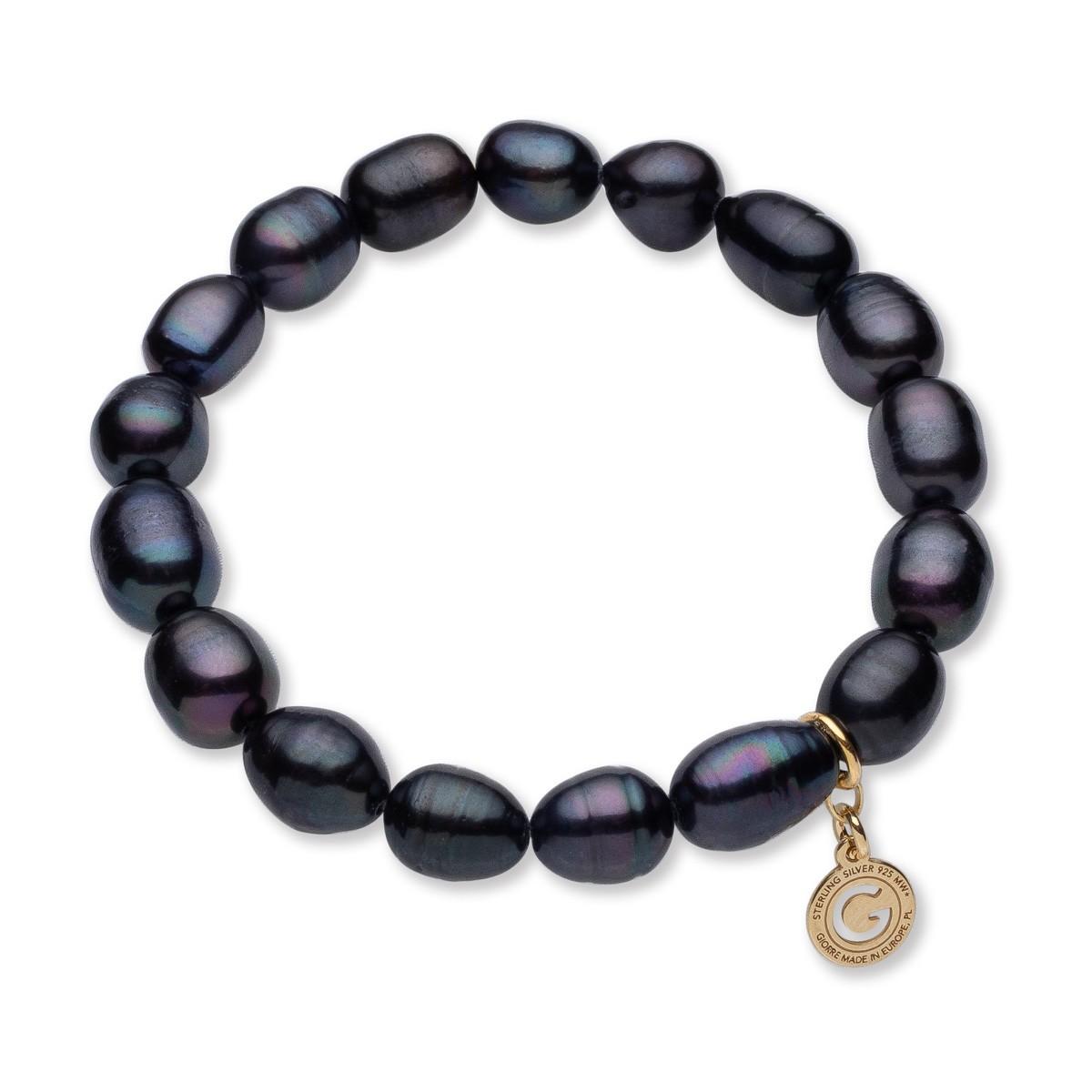 Elastyczna srebrna bransoletka ciemne perły słodkowodne, srebro 925