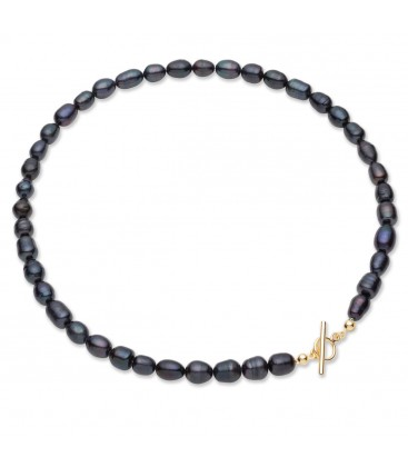 Dark freshwater pearls choker, sterling silver 925