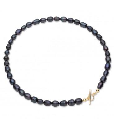 Gargantilla de perlas negras de agua dulce, plata de primera ley 925