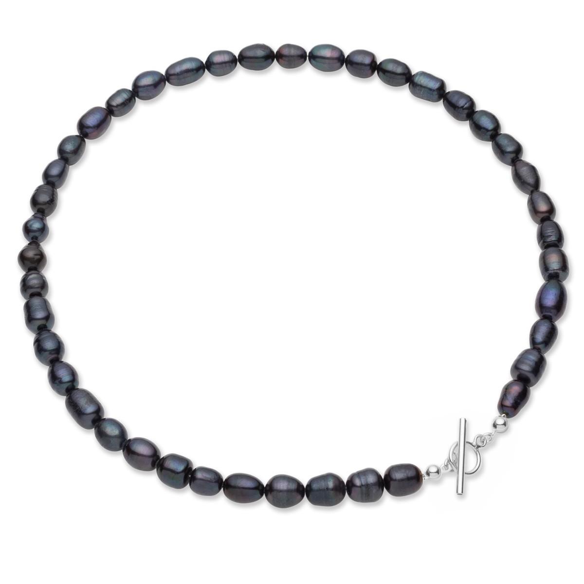 Choker z ciemnych pereł słodkowodnych, srebro 925
