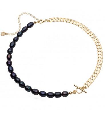 Choker z ciemnych pereł słodkowodnych i łańcuszka, srebro 925