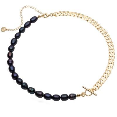 Collar de perlas blancas y cadena, plata de ley 925
