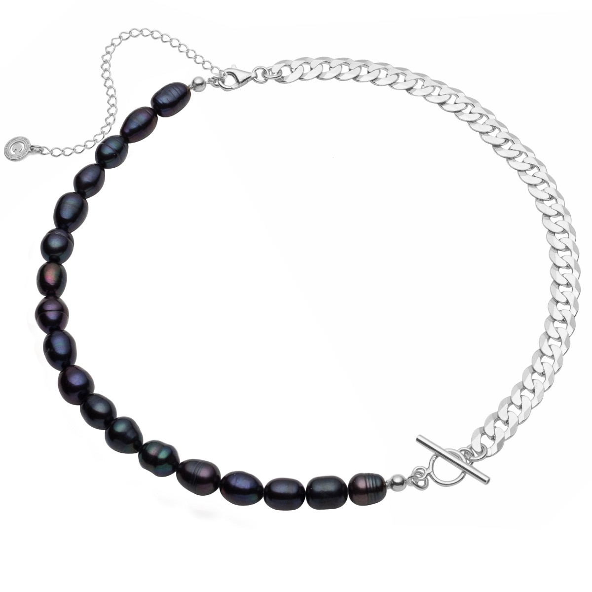 White freshwater pearls choker & curb chain, sterling silver 925
