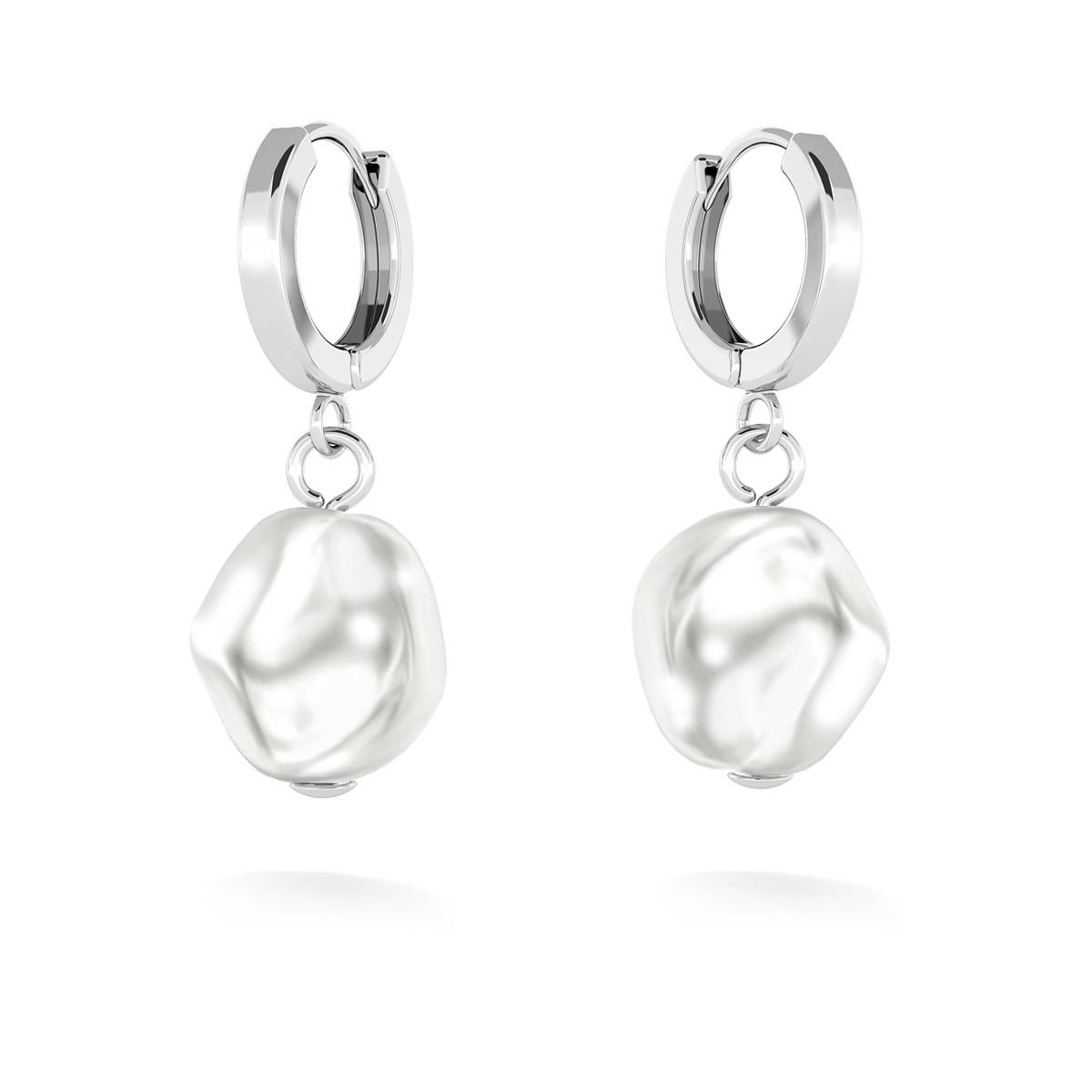 Kolczyki wiszące z perłą nieregulaną, MON DÉFI, srebro 925