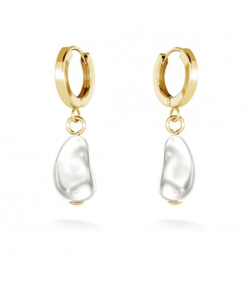 Irregular oblong pearl drop earrings, MON DÉFI, sterling silver 925