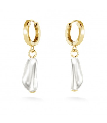 Earrings with oblong baroque pearl, MON DÉFI, sterling silver 925