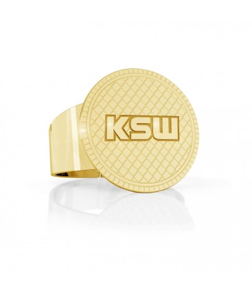 Round signet ring with KSW sign, silver 925