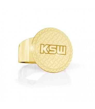 Srebrny fakturowany sygnet z logo KSW, srebro 925
