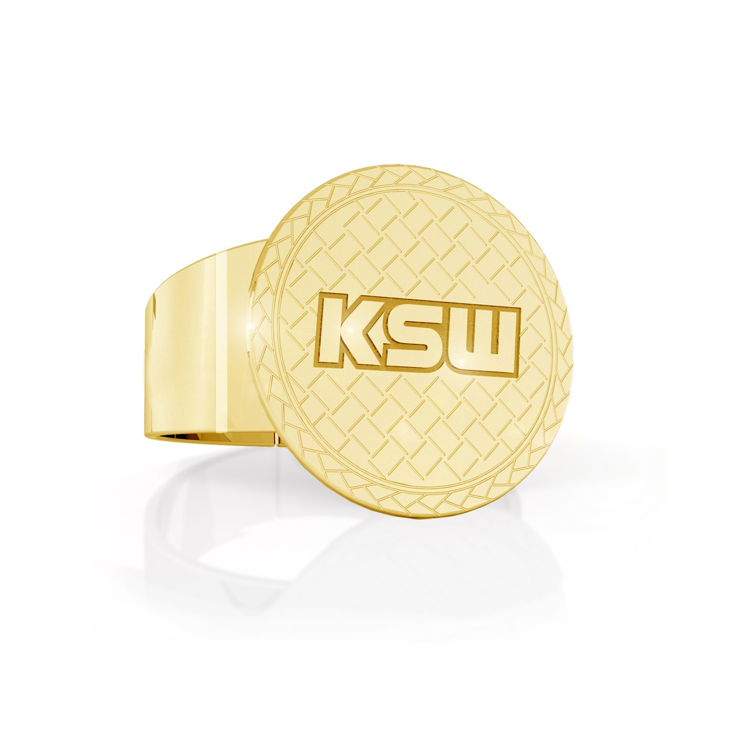 Silver adjustable signet ring with KSW sign, silver 925
