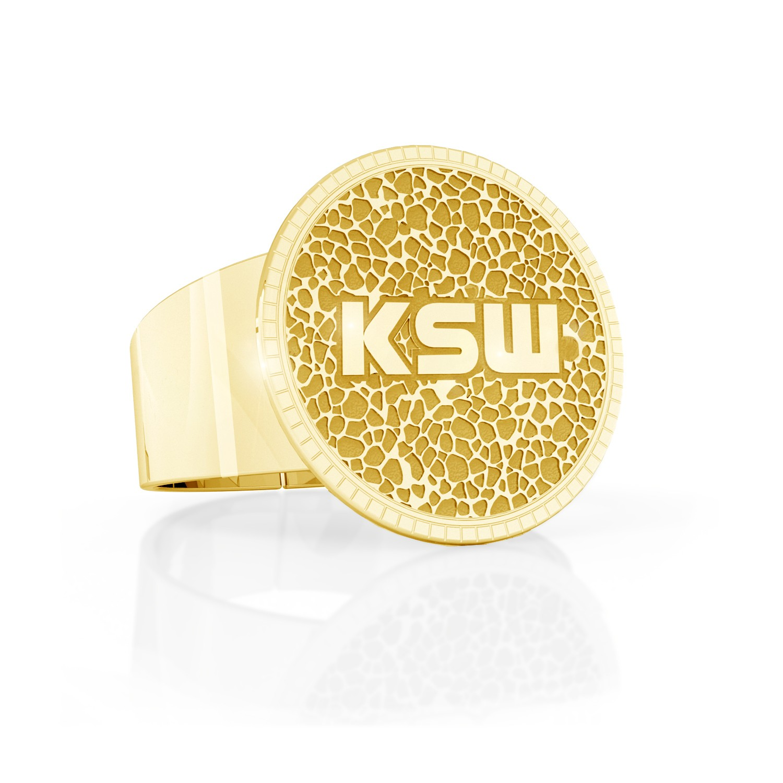 Vulcanite structure KSW signet ring, silver 925