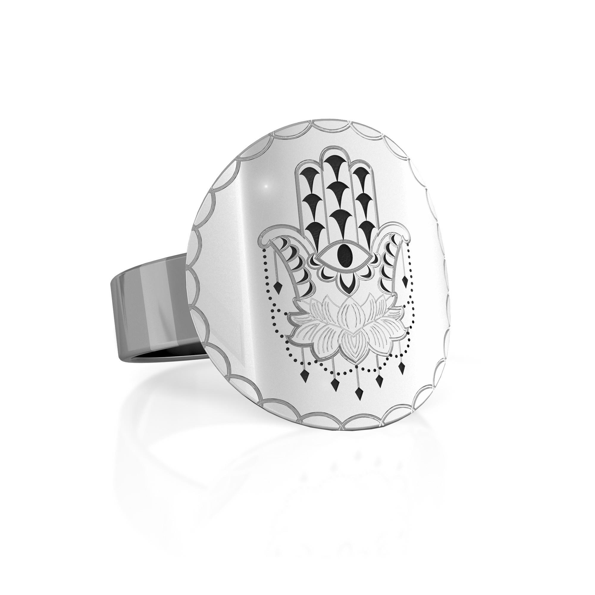 Srebrny sygnet Hamsa, MON DÉFI, 925