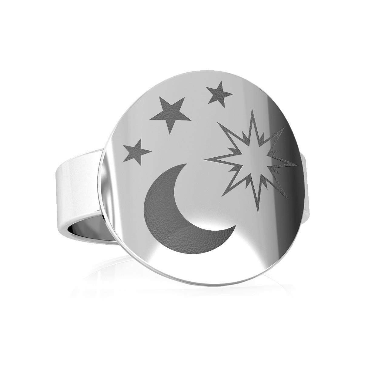 Srebrny sygnet księżyc 925