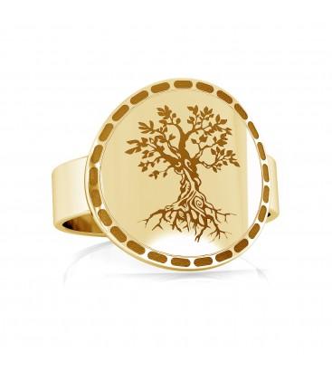 Anillo de sello con árbol de la vida, plata 925