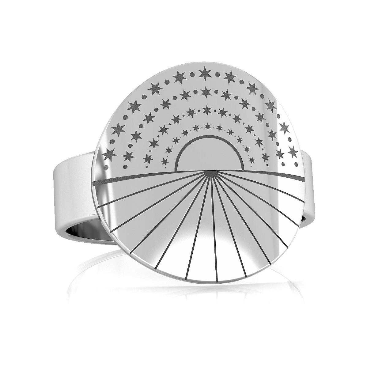 Srebrny pierścionek zachód słońca 925