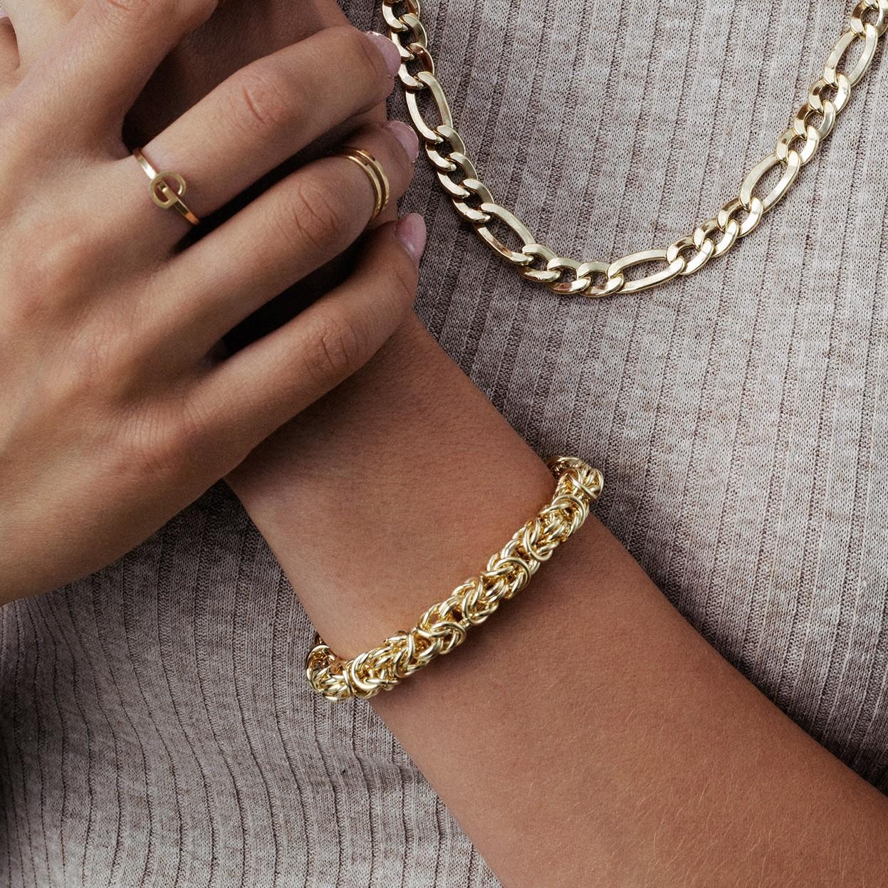 Ręcznie składana gruba bransoletka splot królewski, bizantyna srebro 925