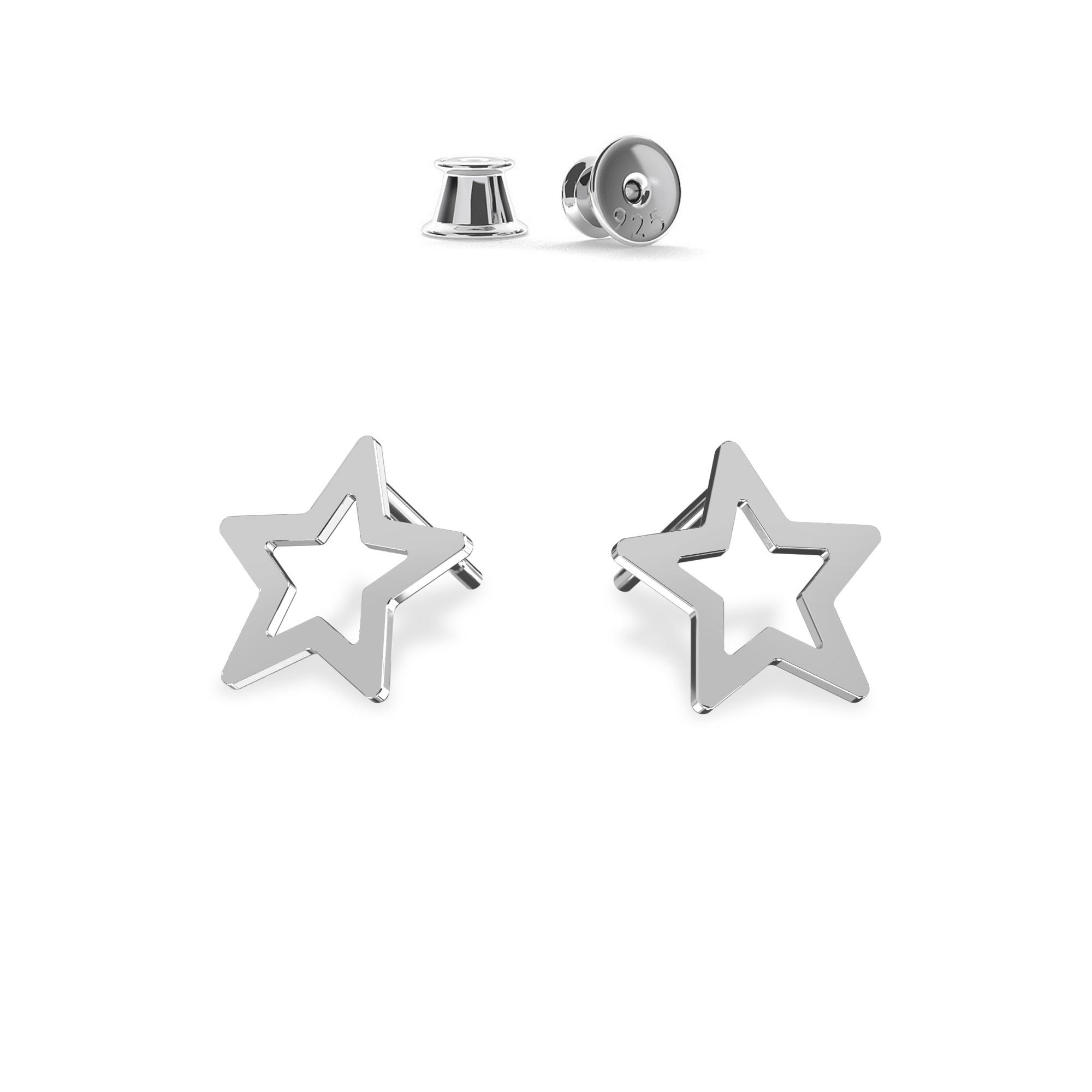 Kolczyki sztyfty ażurowe gwiazdki MON DÉFI, srebro 925