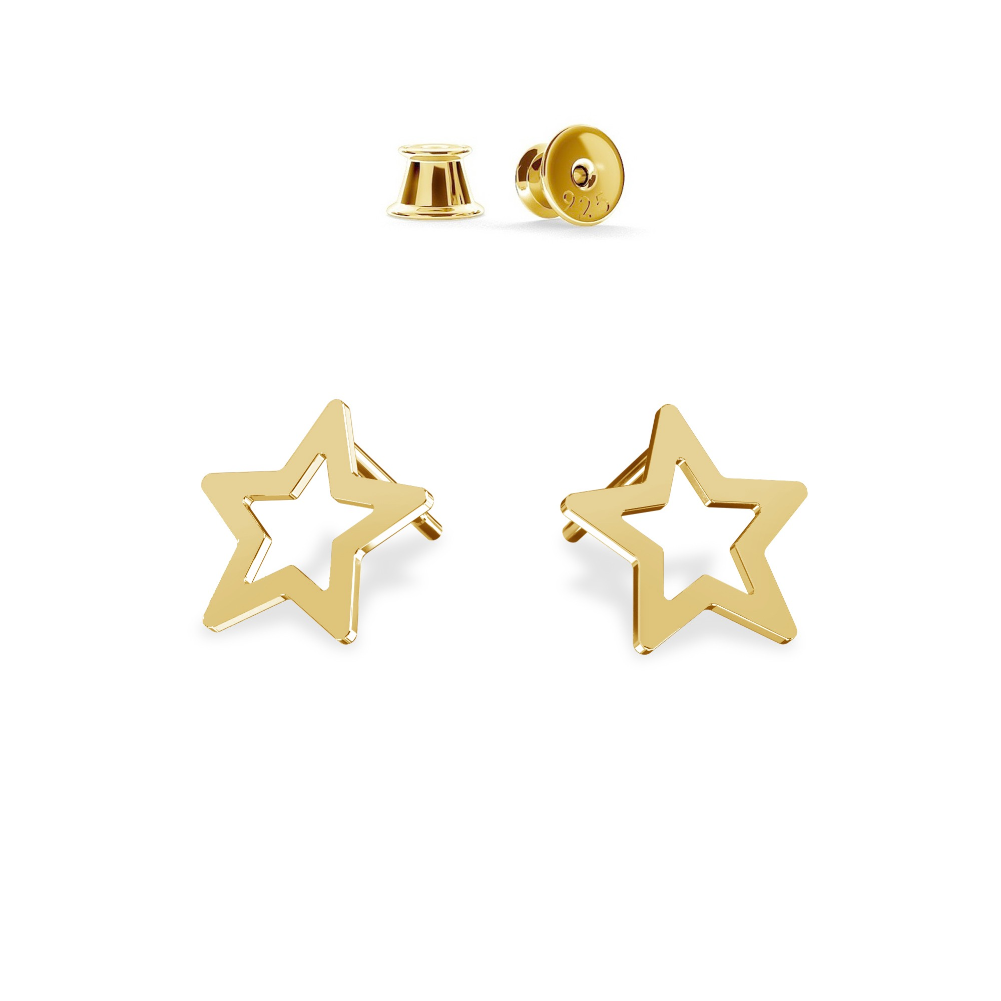 Silver openwork star stud earrings MON DÉFI, silver 925