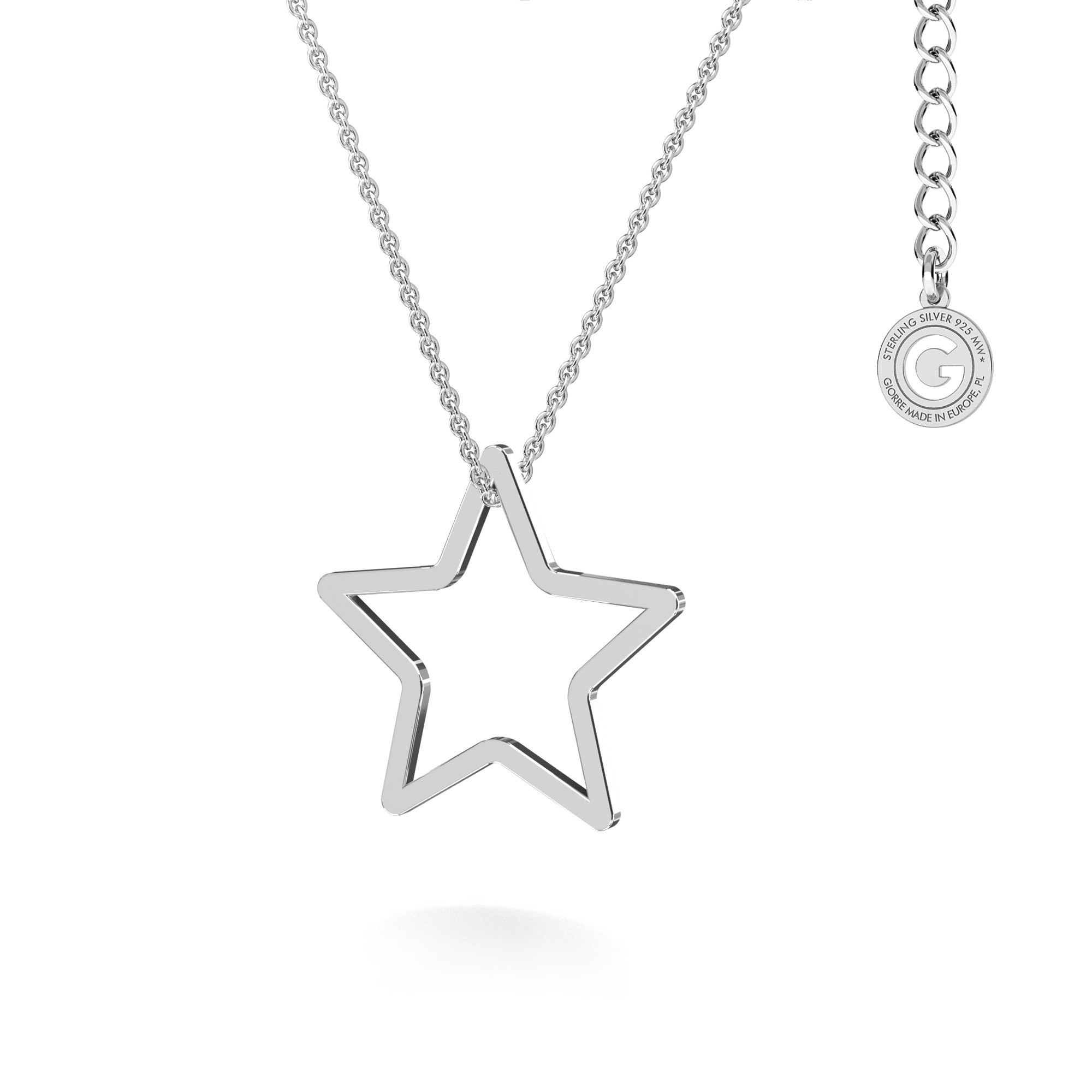 Silver openwork star necklace MON DÉFI, silver 925