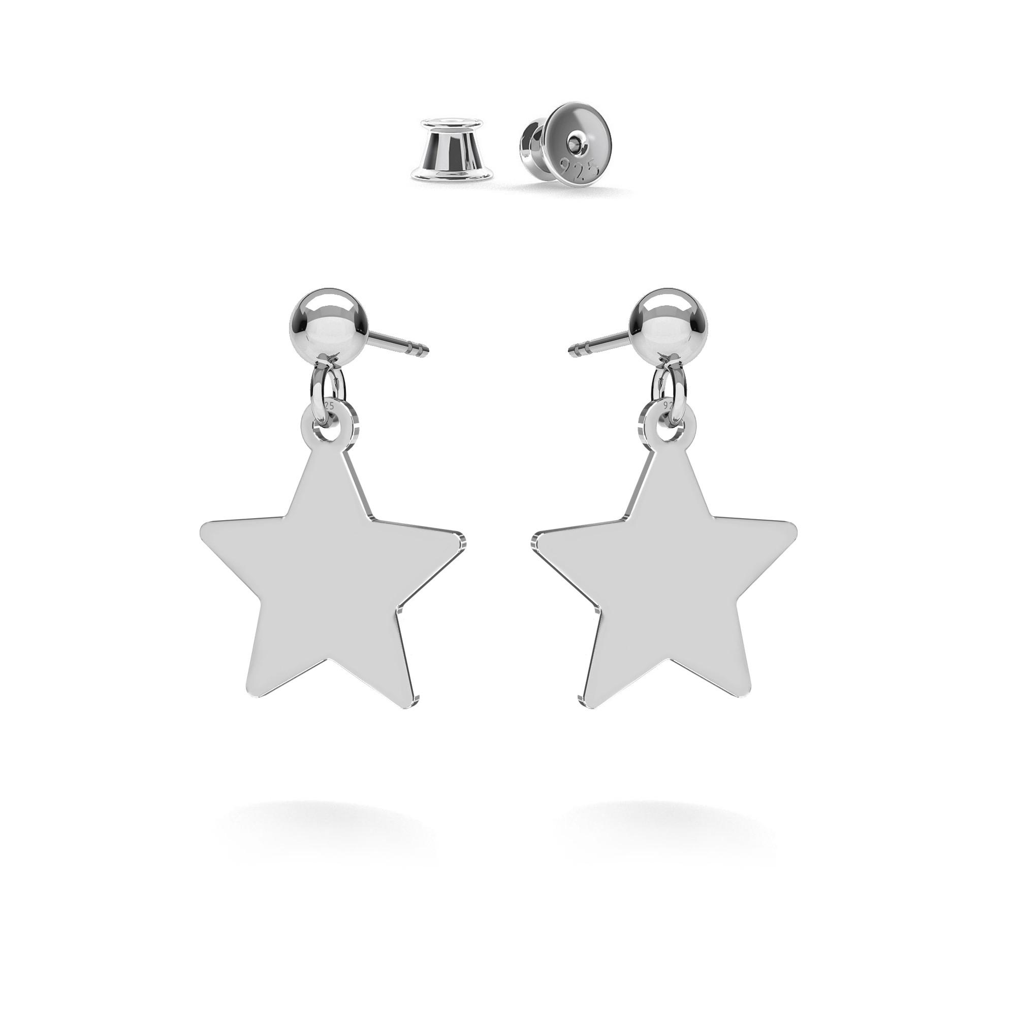 Kolczyki wiszące gwiazdki blaszki MON DÉFI, srebro 925