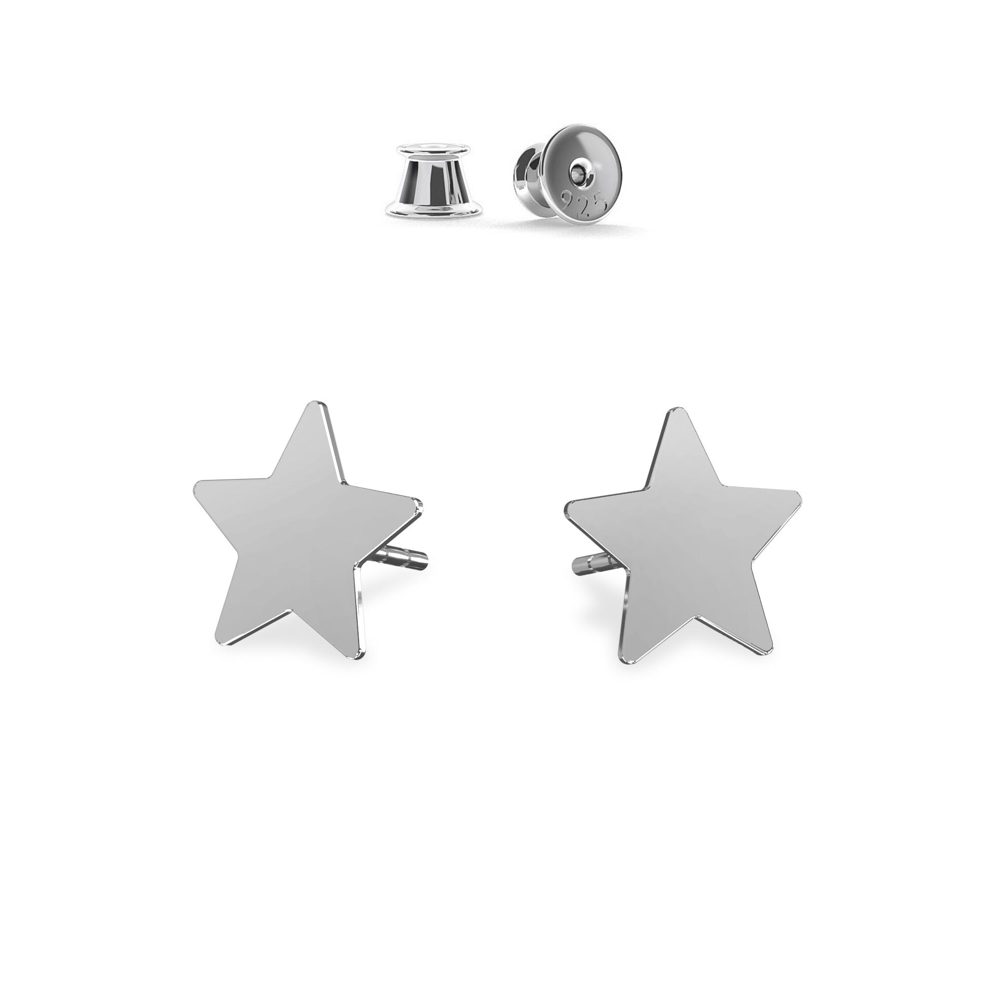 Silver openwork star stud earrings MON DÉFI, silver 925