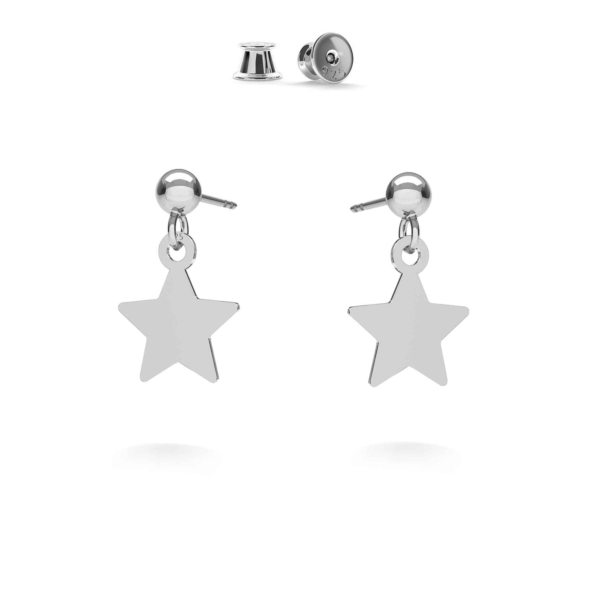 Star drop earrings MON DÉFI, silver 925