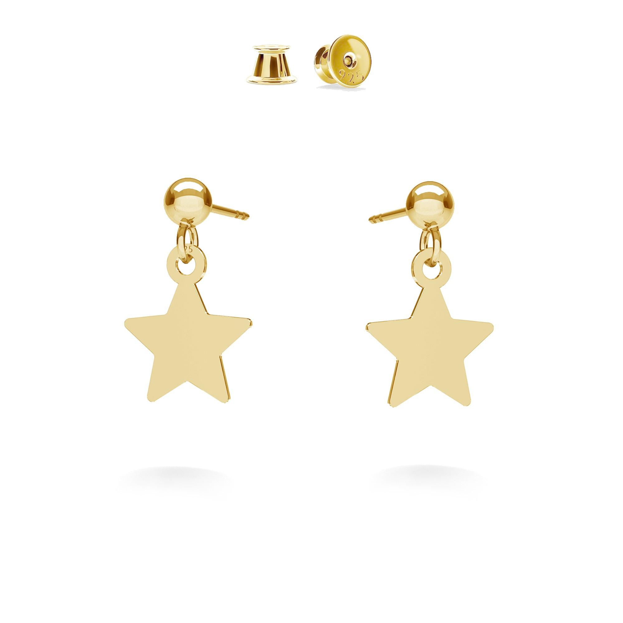 Kolczyki wiszące małe gwiazdki MON DÉFI, srebro 925