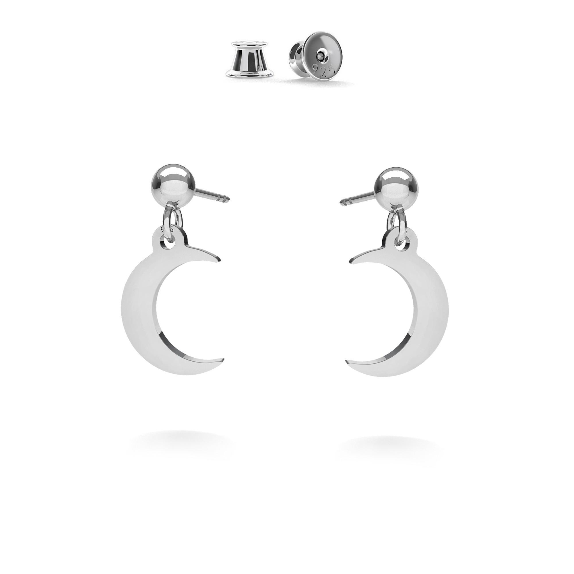 Kolczyki wiszące małe księżyce MON DÉFI, srebro 925