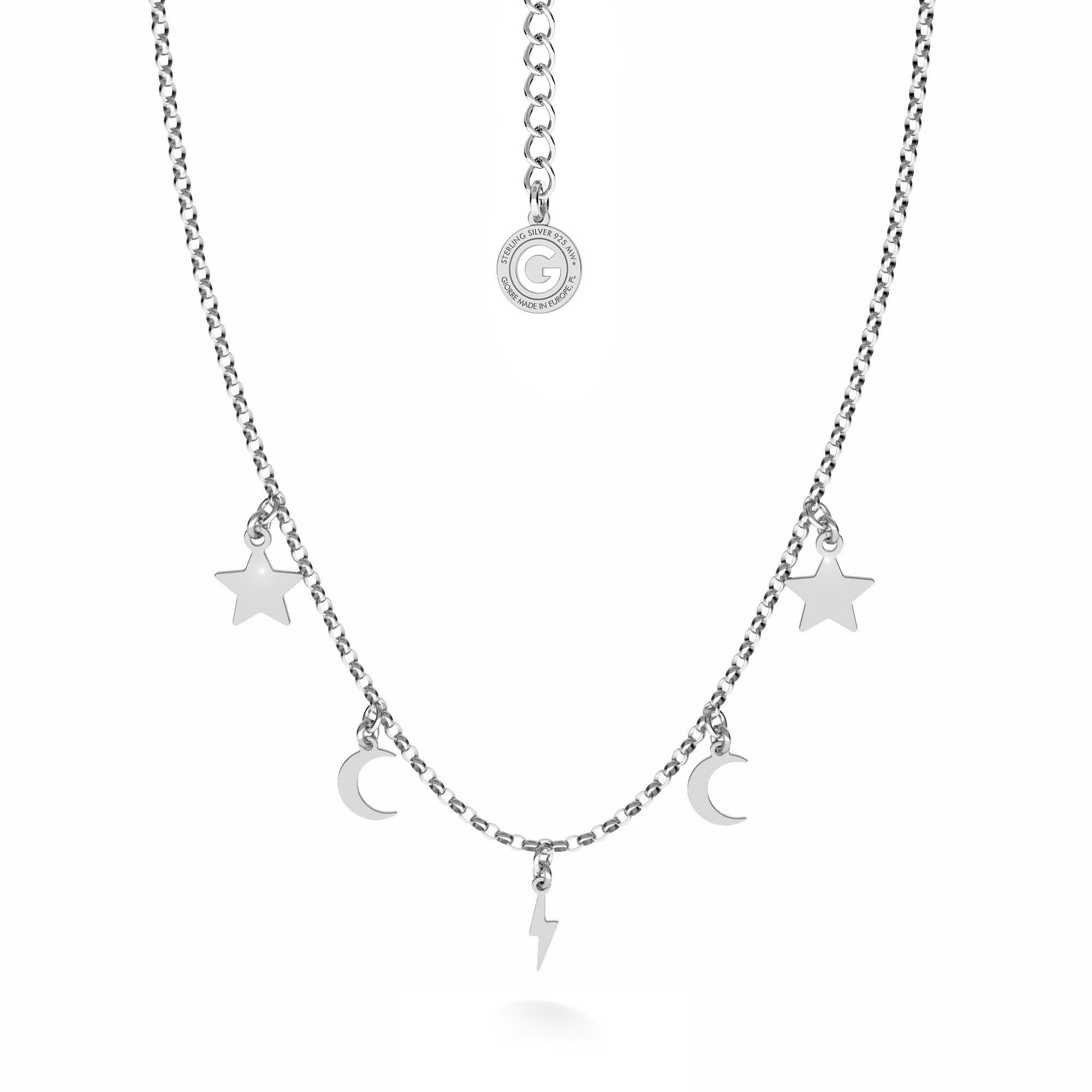 Srebrny naszyjnik z małymi blaszkami gwiazdki, księżyce, piorun MON DÉFI, srebro 925