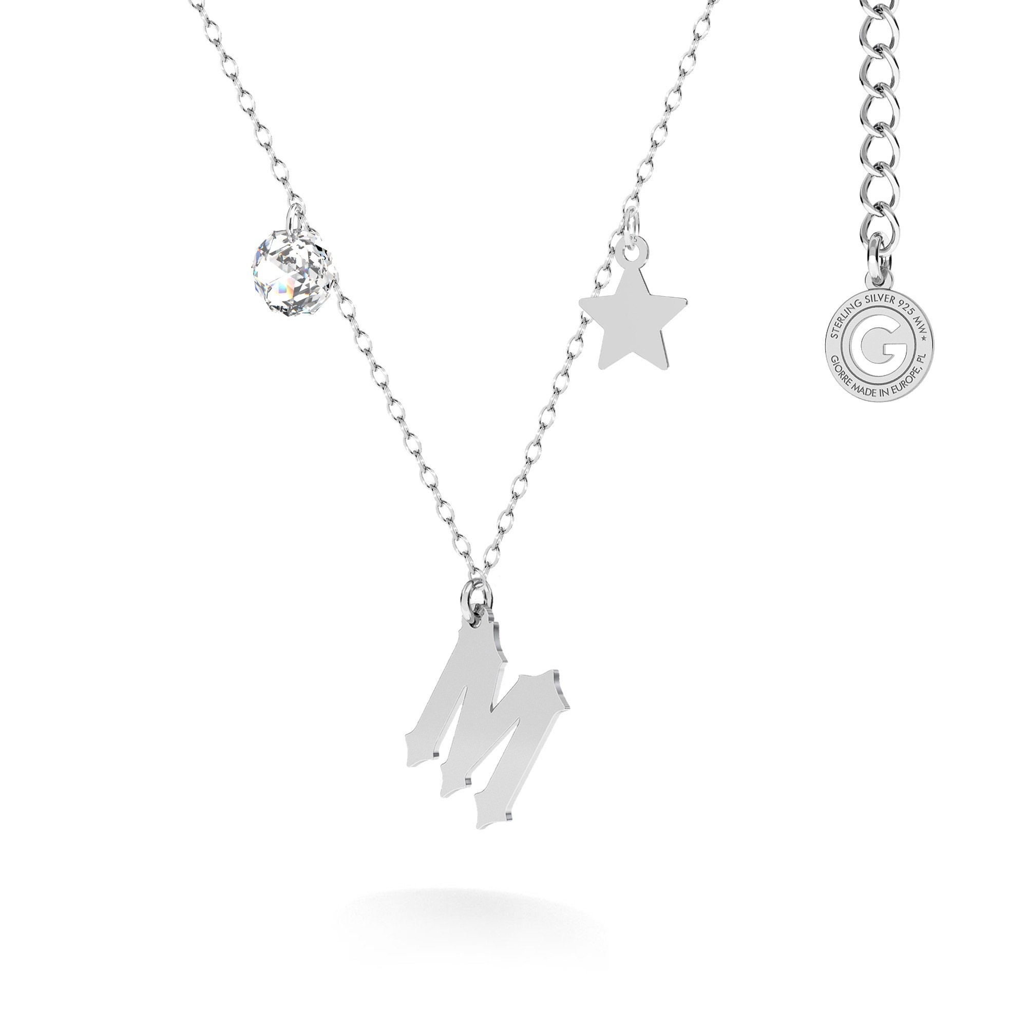 Naszyjnik z zawieszkami - dowolną literą, gwiazdką i kryształem Swarovski, MON DÉFI, srebro 925