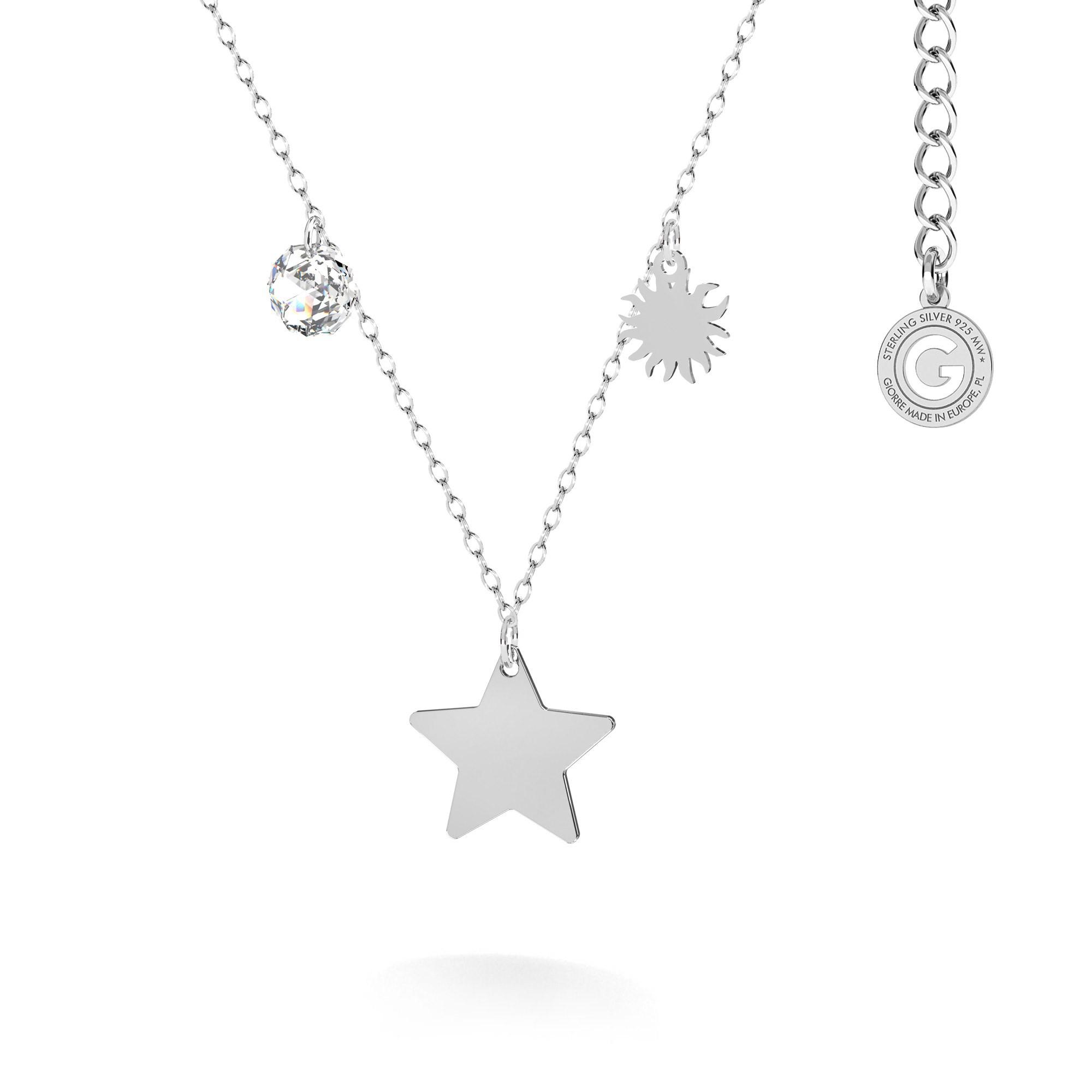Srebrny naszyjnik z zawieszkami - gwiazda, słońce, kryształ Swarovski MON DÉFI, srebro 925
