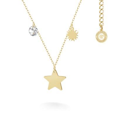 Letter necklace with star pendant, Swarovski crystal, MON DÉFI, silver 925