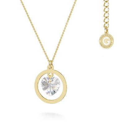 Srebrny naszyjnik serce - kryształ Swarovski, grawer, MON DÉFI, srebro 925
