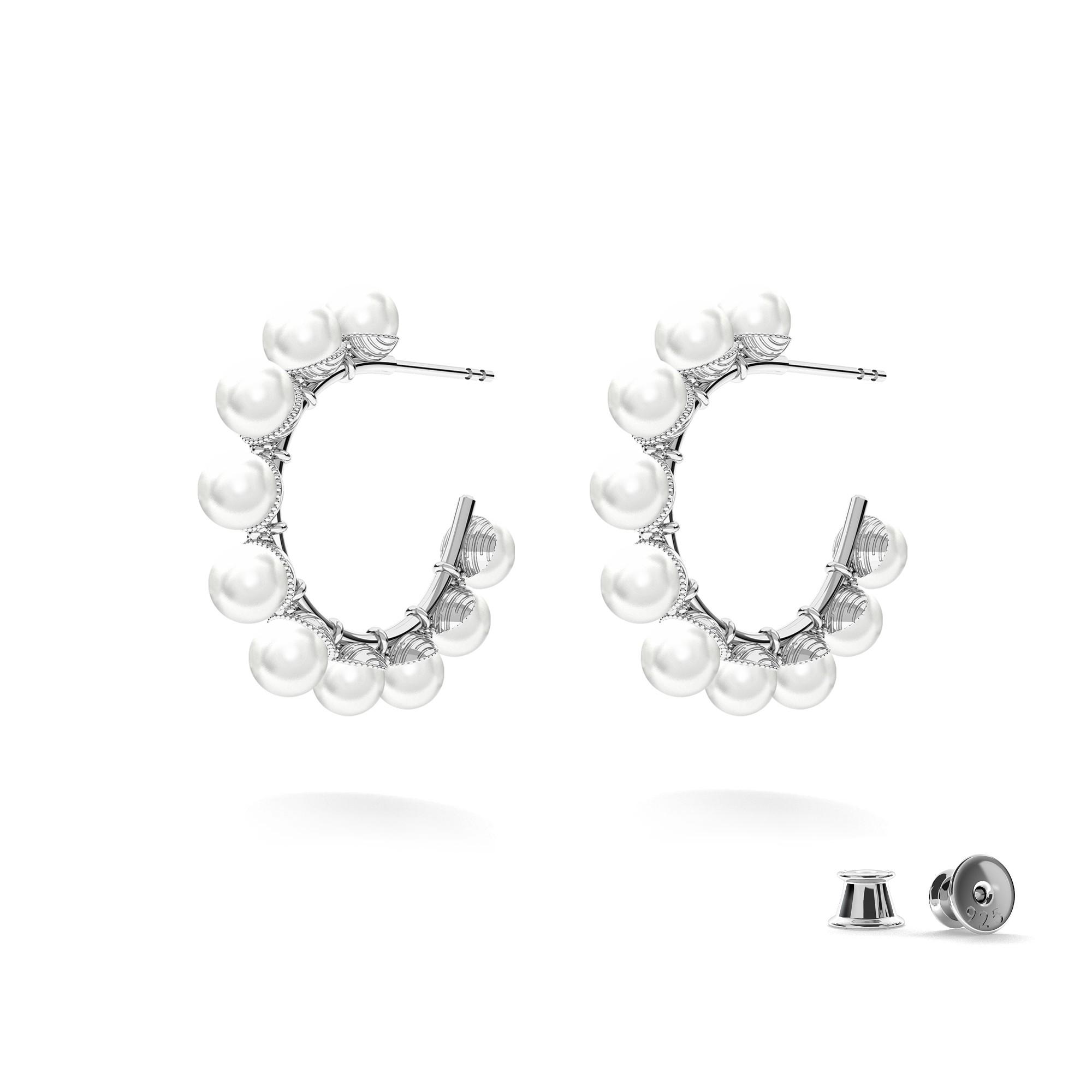 Srebrne kolczyki z perłami, MON DÉFI, srebro 925