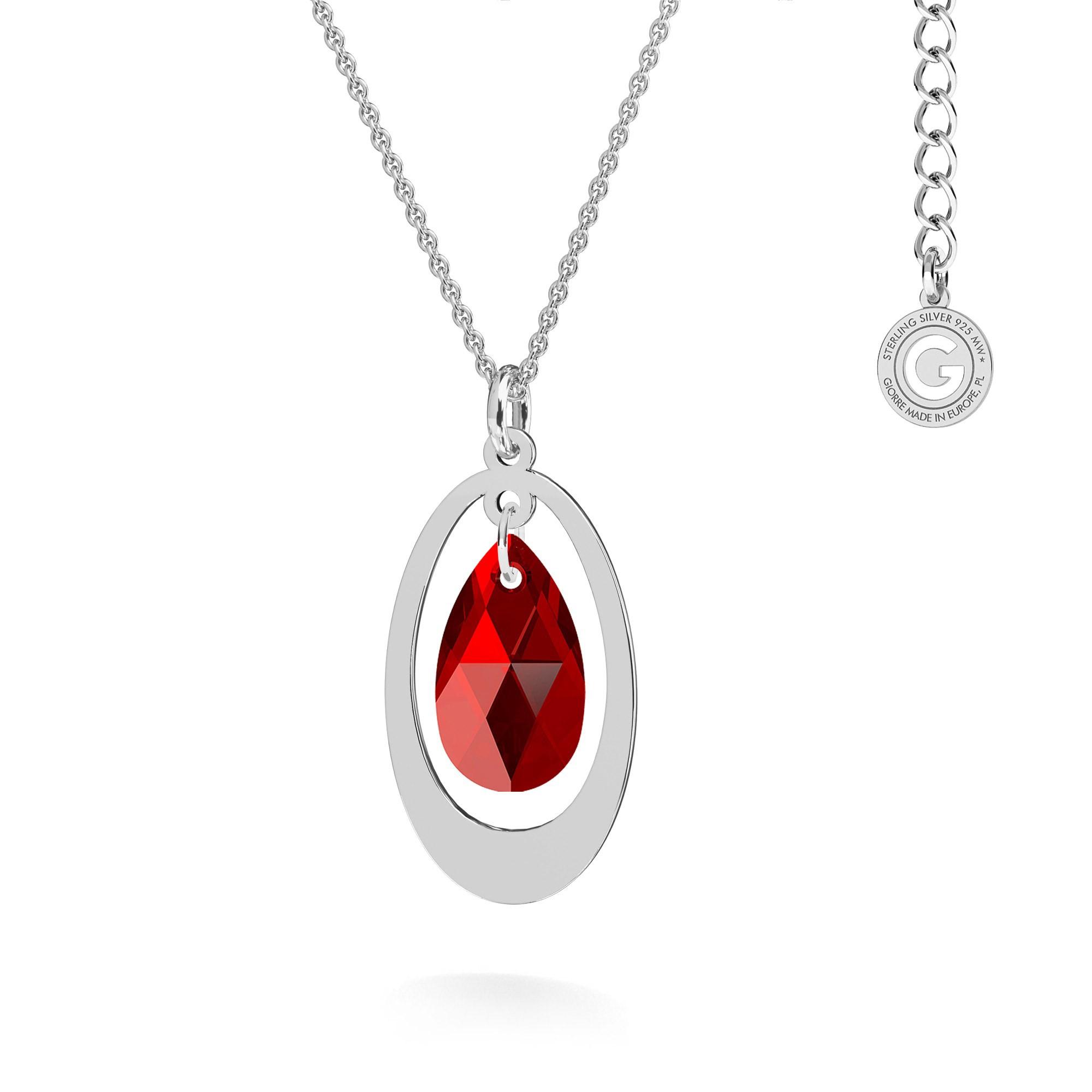 Naszyjnik z owalnym kryształem Swarovski, grawer, MON DÉFI, srebro 925