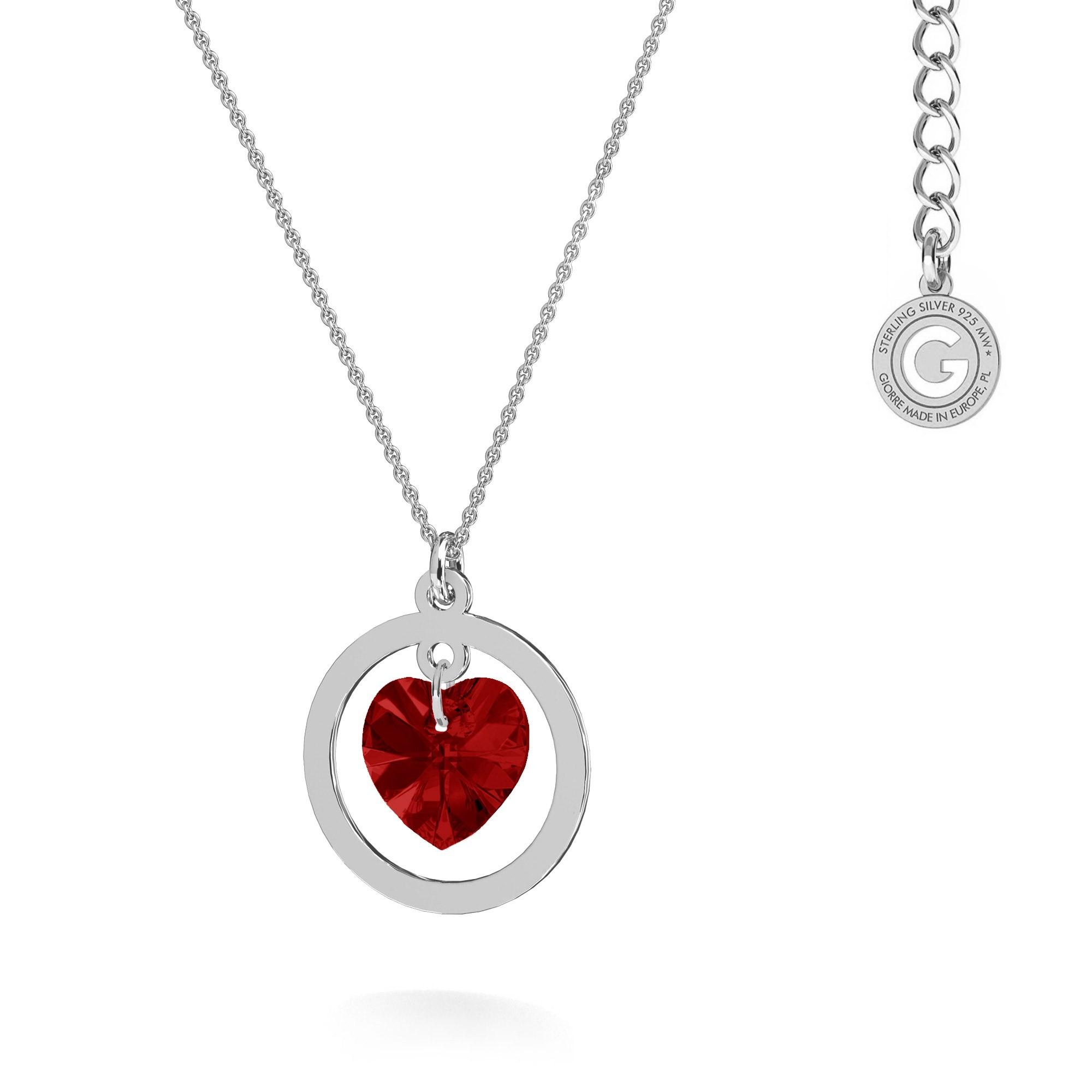 Crystal pendant necklace MON DÉFI, engraving, Swarovski, silver 925