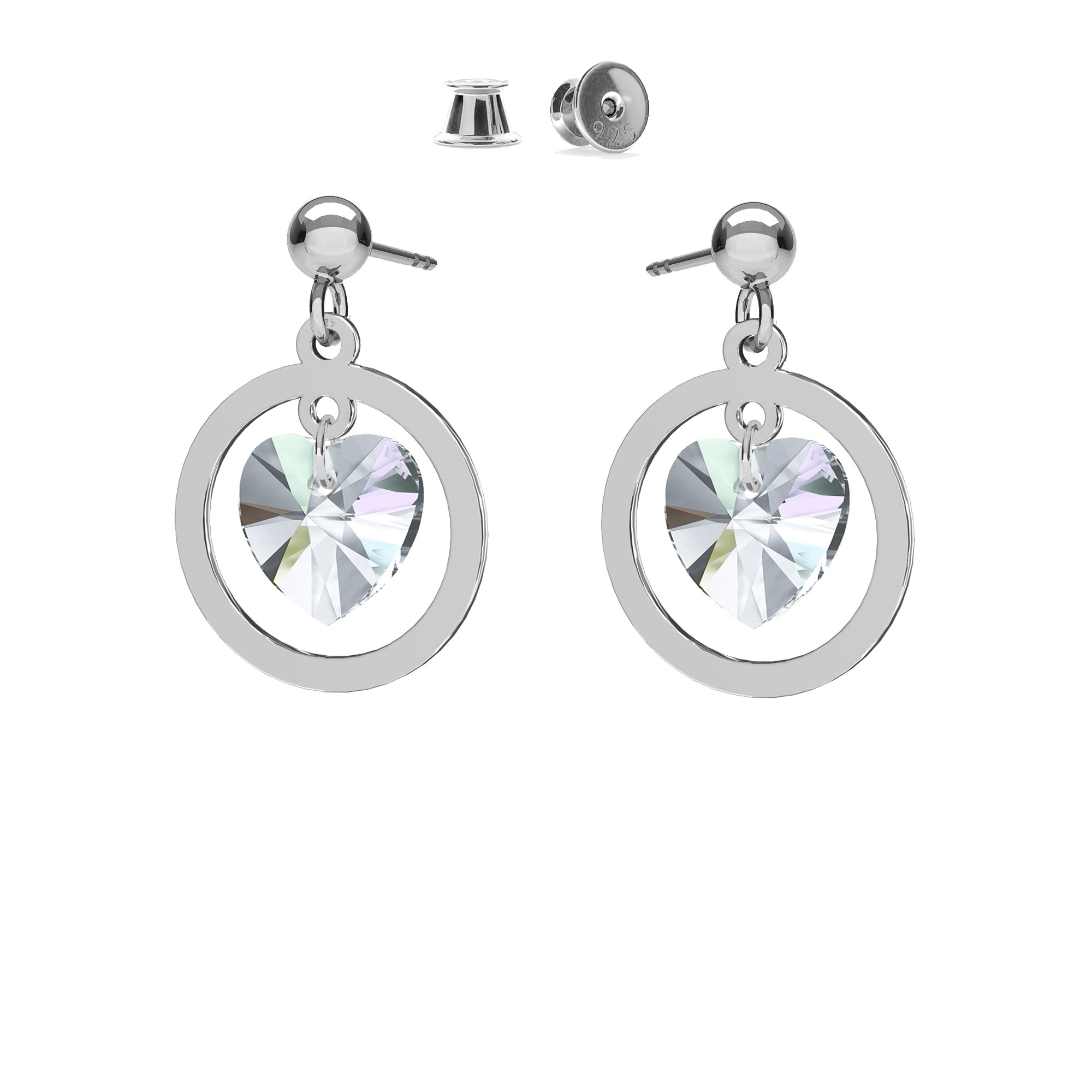 Swarovski crystal drop earrings MON DÉFI, silver 925