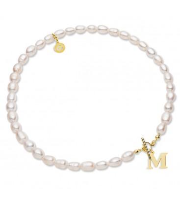 Choker z białych pereł naturalnych z dowolną literą, srebro 925