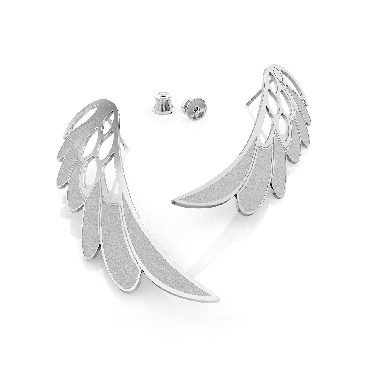 BIG ANGEL WINGS MATT EARRINGS, STERLING SILVER (925) RHODIUM OR GOLD PLATED