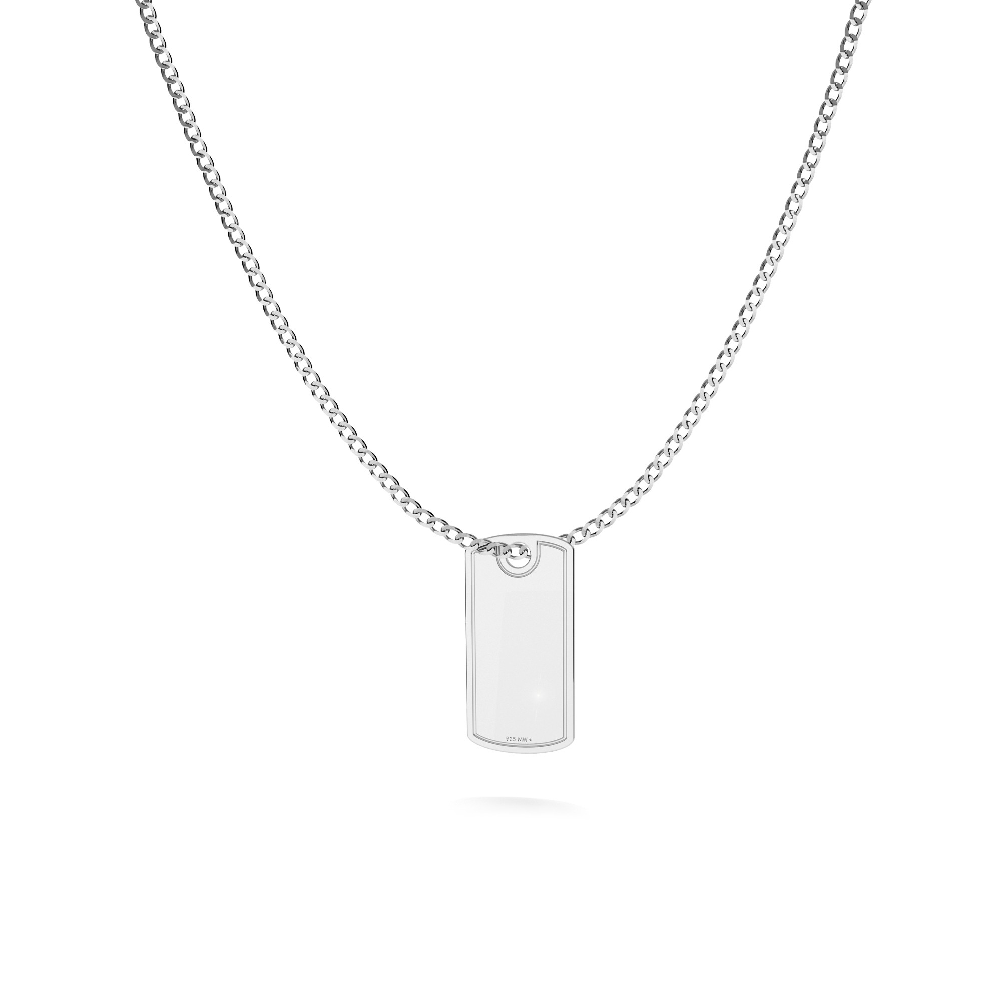 Dog tag with engrave and chain silver 925
