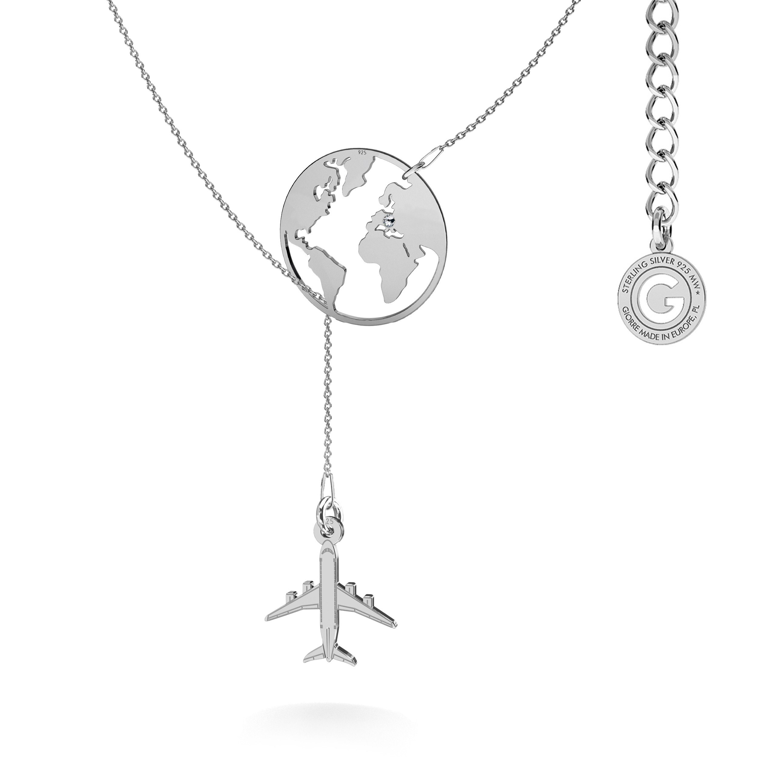 MON DÉFI Necklace - Globe with plane, sterling silver 925