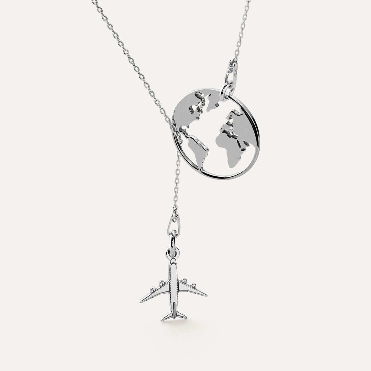 Naszyjnik kula ziemska samolot kryształ Swarovskiego MON DÉFI