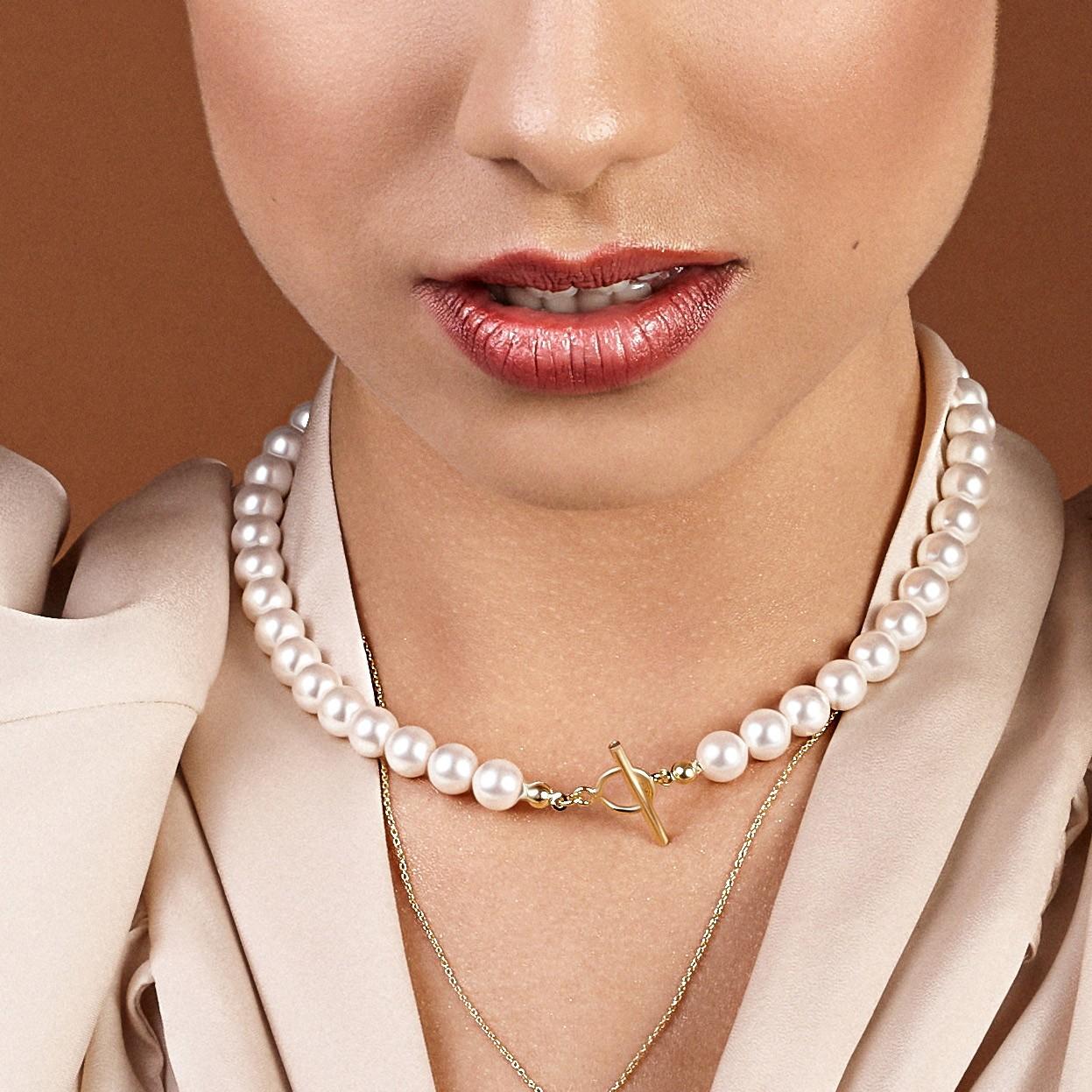 Srebrny perłowy choker do podwieszania charmsów 925