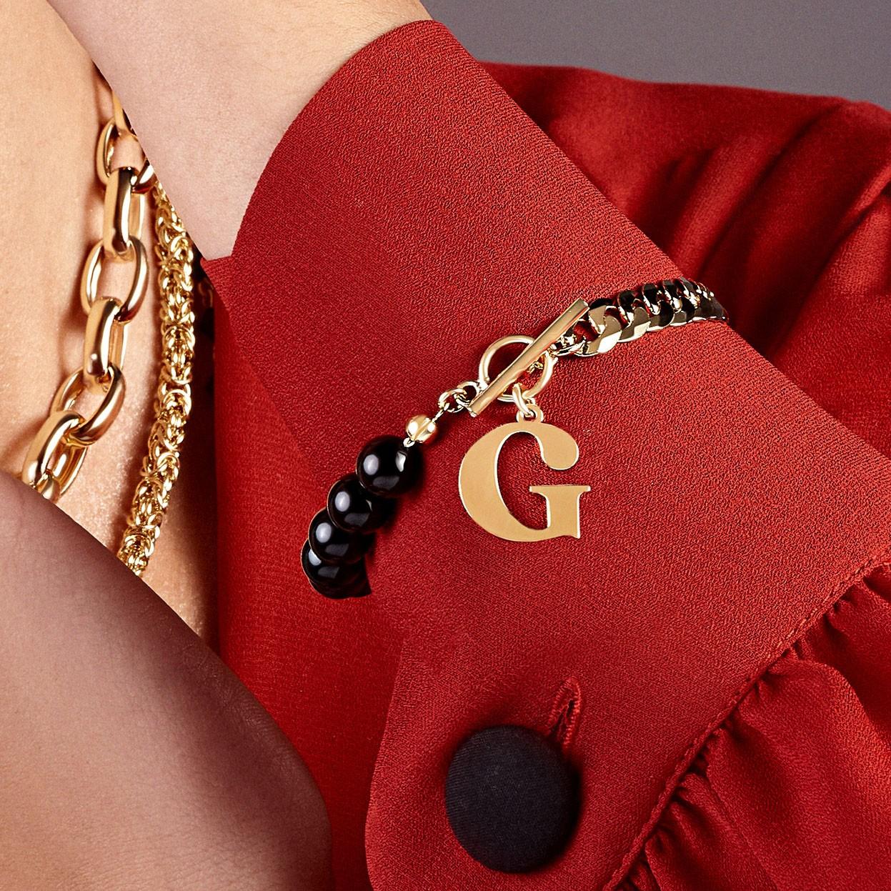 Perlen armband mit brief sterling silber 925